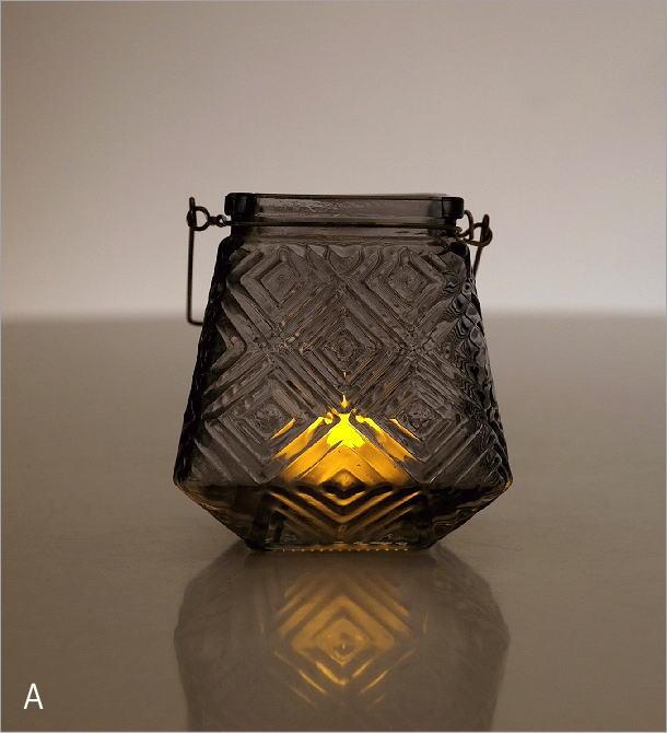 LEDキャンドル付きガラスホルダー4カラー(1)