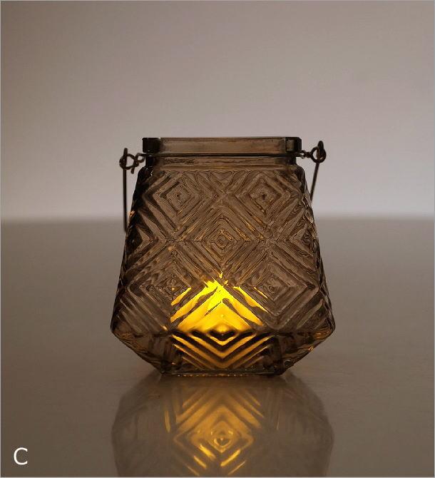 LEDキャンドル付きガラスホルダー4カラー(3)