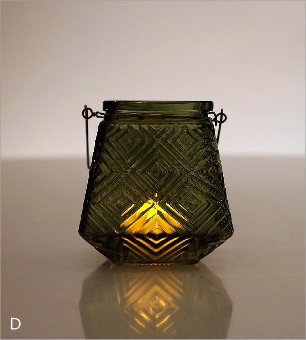 LEDキャンドル付きガラスホルダー4カラー(4)