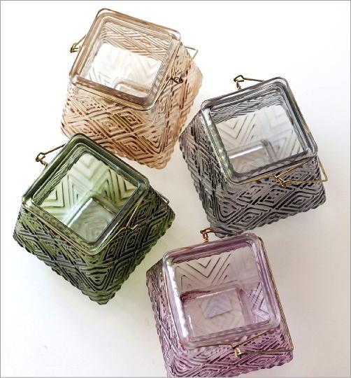 LEDキャンドル付きガラスホルダー4カラー(5)