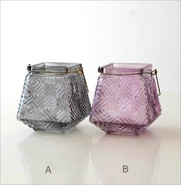 LEDキャンドル付きガラスホルダー4カラー(6)