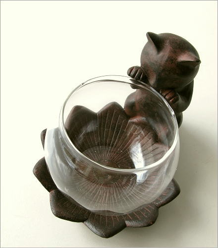 小物入れ ガラス 子ネコのミニベース(1)