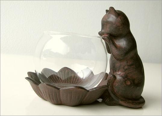 小物入れ ガラス 子ネコのミニベース(5)