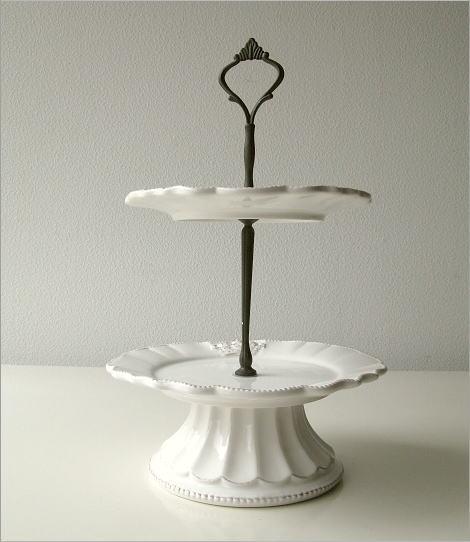 陶器の2段デザートプレート(4)