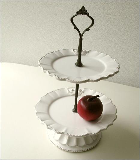 陶器の2段デザートプレート(5)