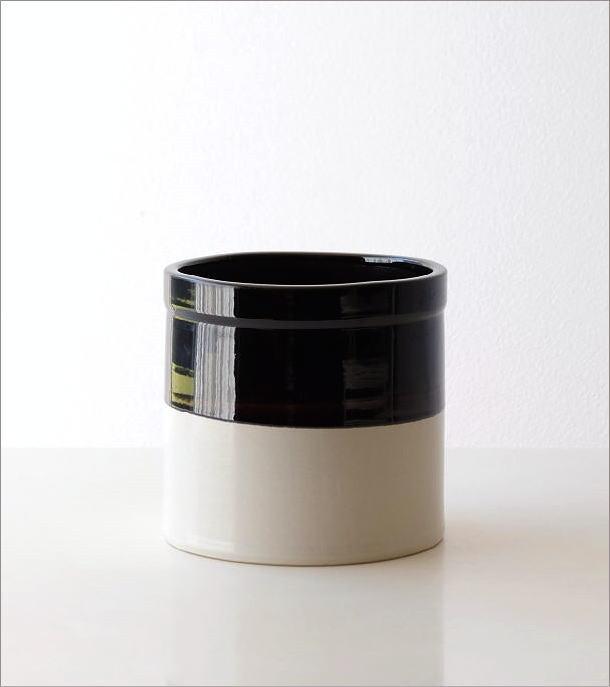 陶器のバイカラー鉢ポット(4)