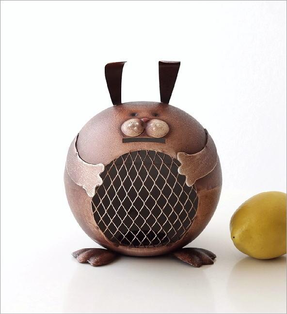ブリキのオブジェ ウサギ貯金箱(4)