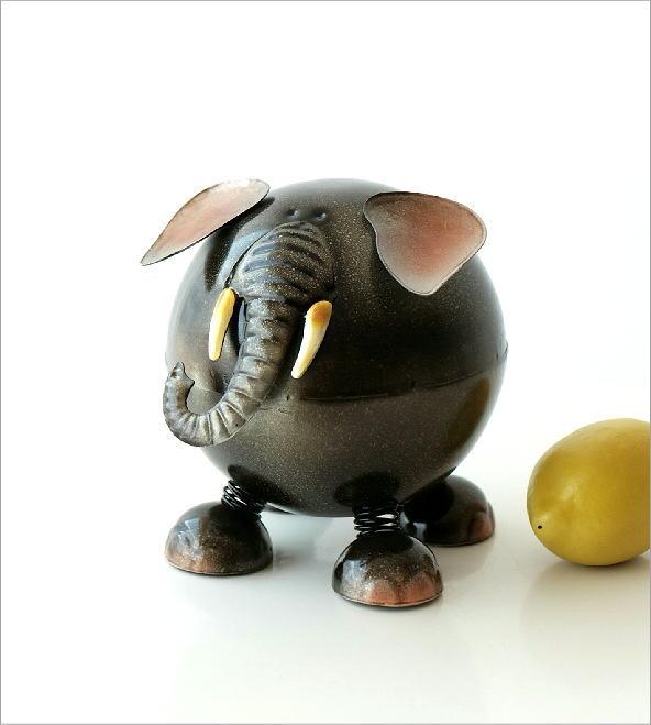 ブリキのオブジェ ゾウ貯金箱(4)