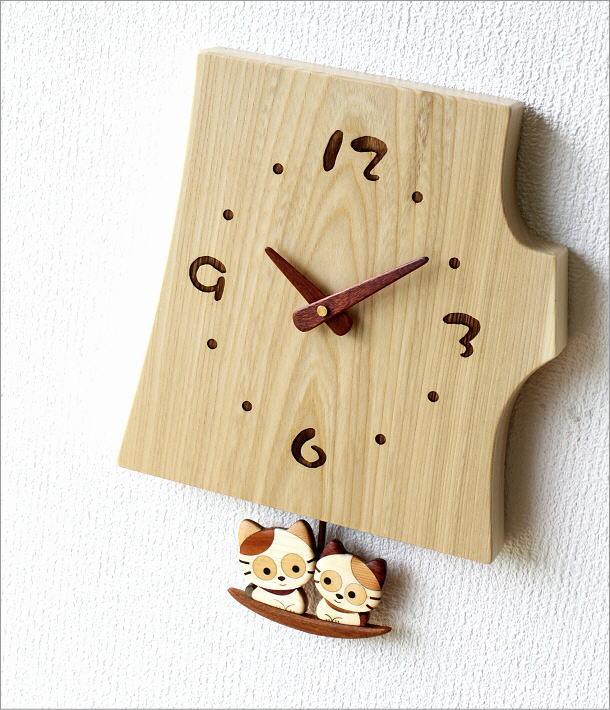 木の振り子時計 ねこ(1)