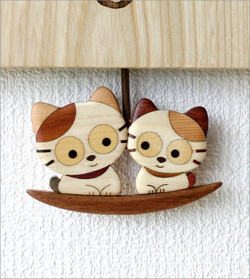 木の振り子時計 ねこ(3)