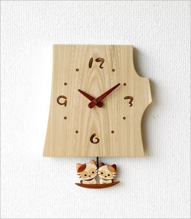 木の振り子時計 ねこ(5)