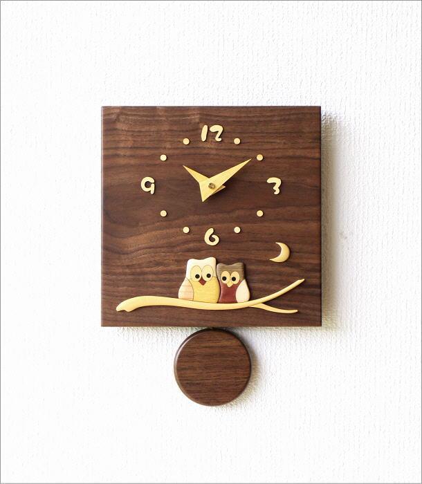 木の振り子時計 スクエアウォルナット(5)