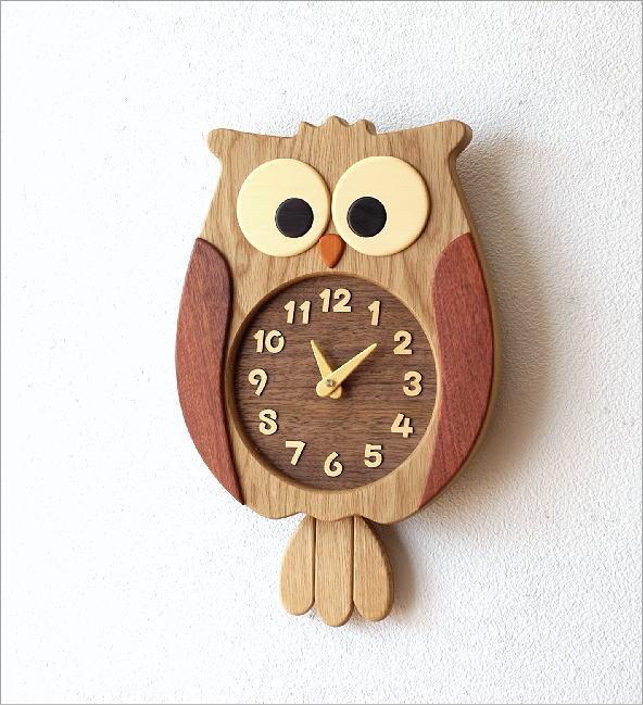 ウッドふくろう掛け時計(1)