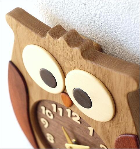 ウッドふくろう掛け時計(2)