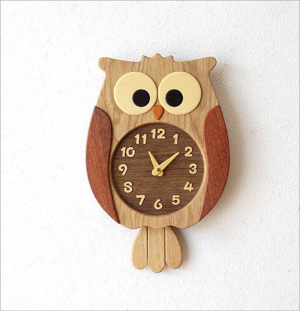 ウッドふくろう掛け時計(4)
