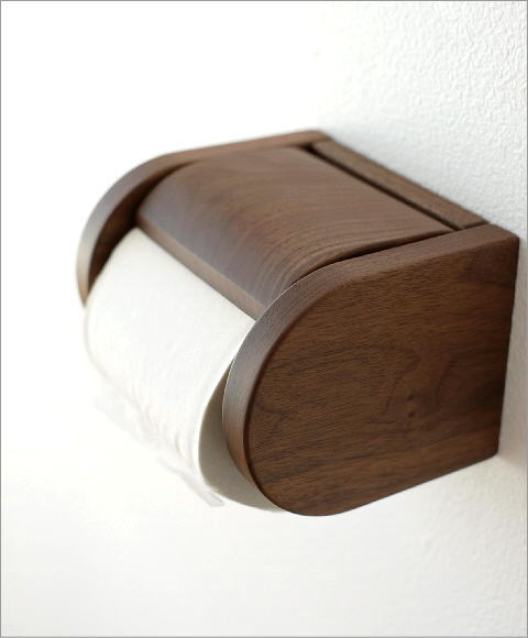 ウォールナット無垢材のワンタッチ式トイレットペーパーホルダー