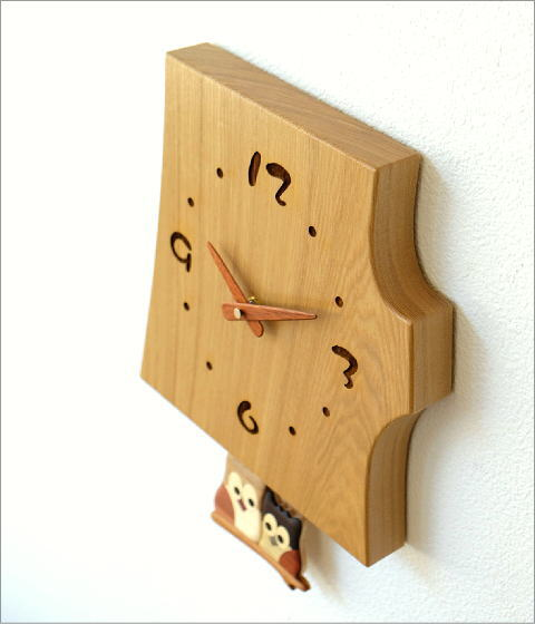 木の振り子時計 フクロウNA(4)