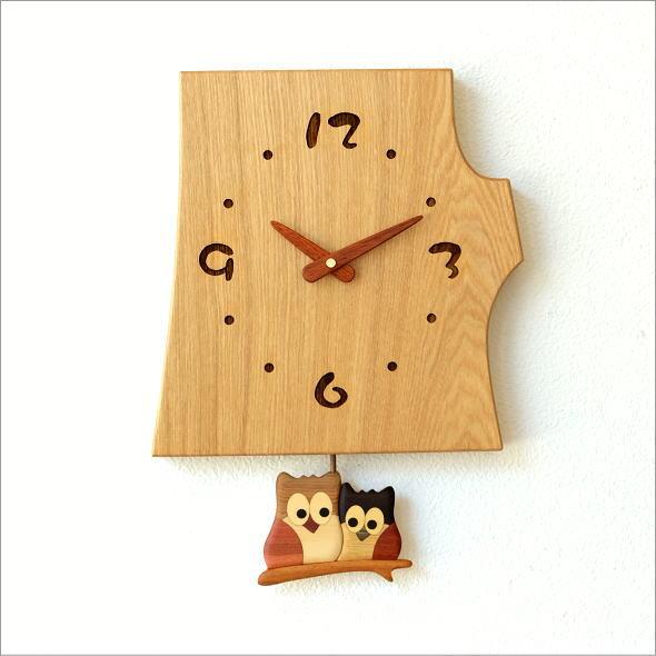木の振り子時計 フクロウNA(6)