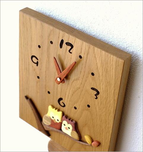 木の振り子時計 スクエア(4)