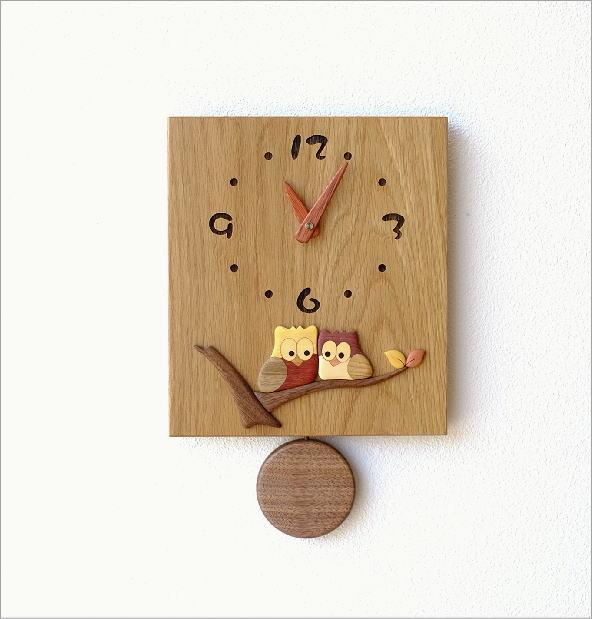 木の振り子時計 スクエア(6)