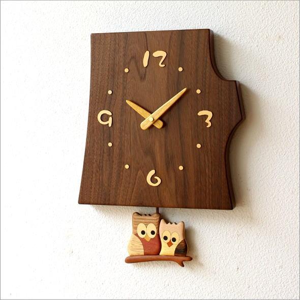 木の振り子時計 フクロウ(5)
