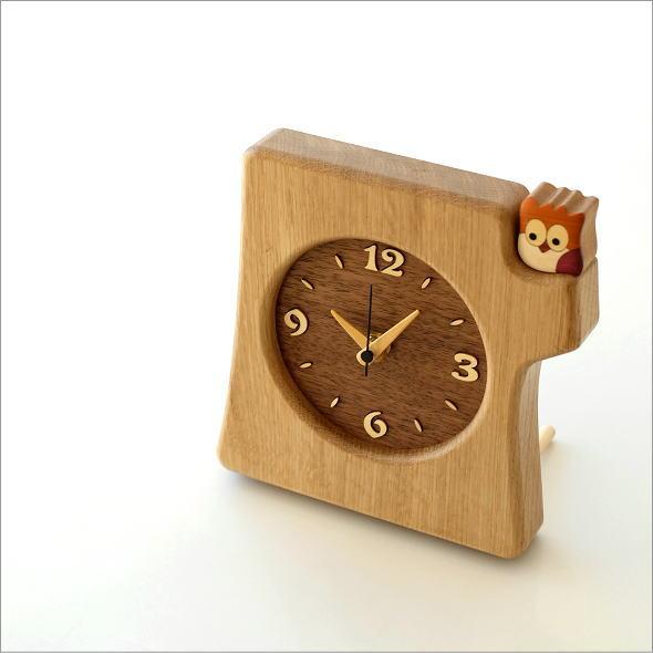 木の掛け置き時計 フクロウ(1)