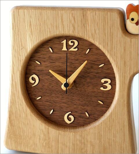 木の掛け置き時計 フクロウ(2)