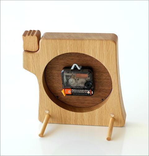 木の掛け置き時計 フクロウ(4)