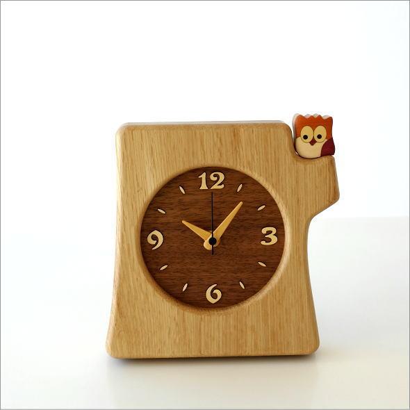 木の掛け置き時計 フクロウ(5)