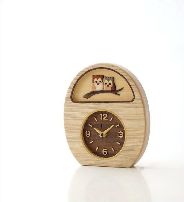 ウッドフクロウの掛け置き時計(1)