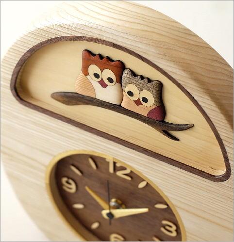 ウッドフクロウの掛け置き時計(2)