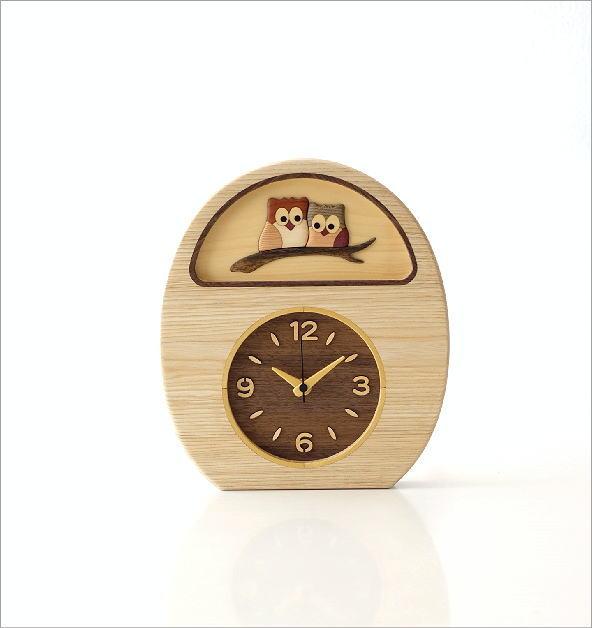 ウッドフクロウの掛け置き時計(4)