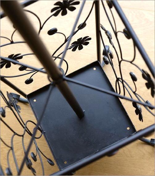 アイアンの傘立て付きコートハンガー フラワー(5)