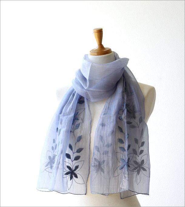 コットンシルク刺繍ショール(1)