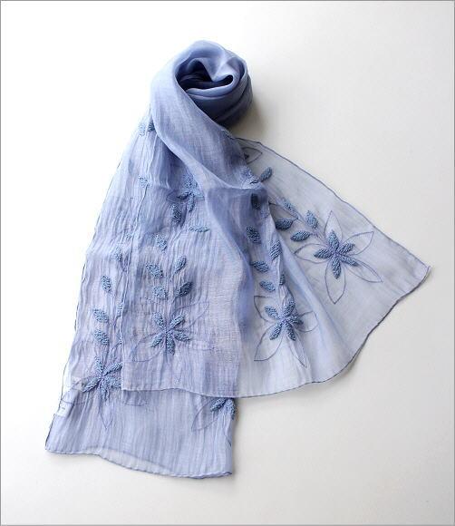 コットンシルク刺繍ショール(2)