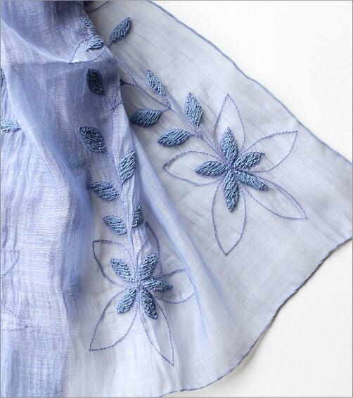 コットンシルク刺繍ショール(3)