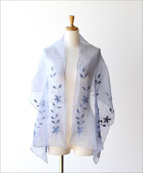 コットンシルク刺繍ショール(4)