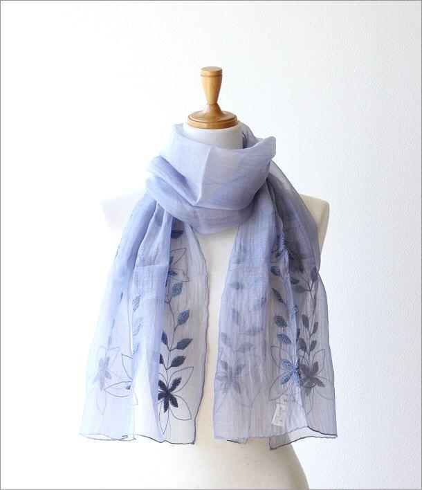 コットンシルク刺繍ショール(5)