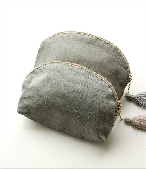 ビーズ刺繍マチ付き山型ポーチ 2タイプ(5)
