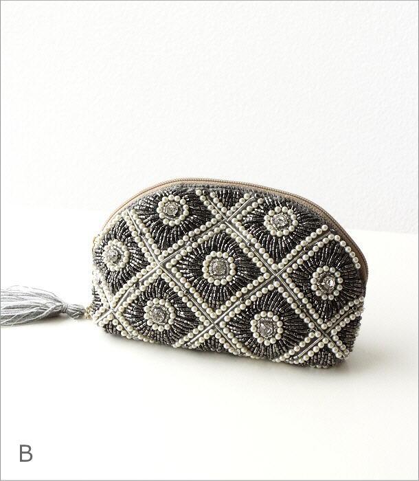 ビーズ刺繍マチ付き山型ポーチ 2タイプ(7)