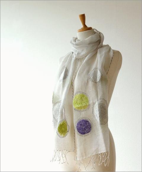 リネンドット柄刺繍ショール(1)