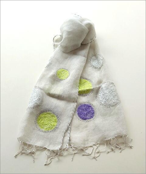 リネンドット柄刺繍ショール(2)
