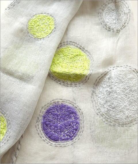 リネンドット柄刺繍ショール(3)