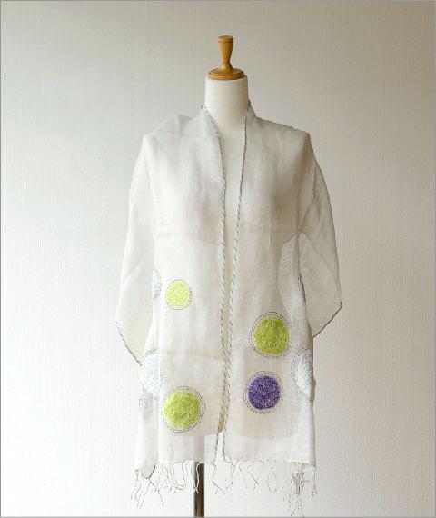 リネンドット柄刺繍ショール(4)