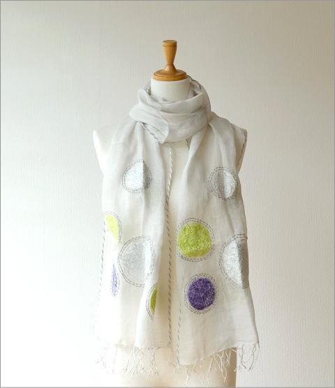 リネンドット柄刺繍ショール(5)