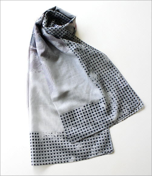 レーヨン幾何学ドット柄ショール GY(2)