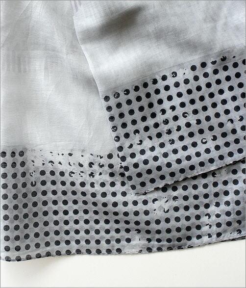 レーヨン幾何学ドット柄ショール GY(3)