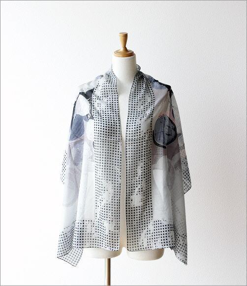 レーヨン幾何学ドット柄ショール GY(4)