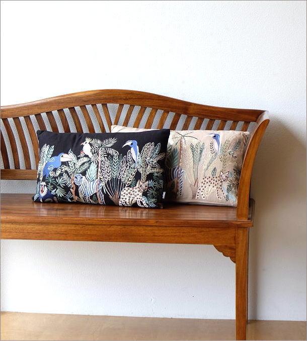 ジャングル刺繍レクタングルクッション 2カラー(1)