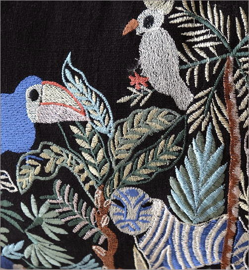ジャングル刺繍レクタングルクッション 2カラー(2)